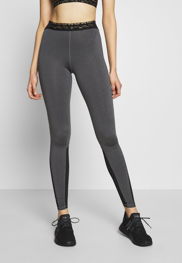 ONPJYNX TRAINING TIGHTS  - Legging - dark grey melange/black/white gold