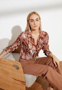 Trendyol - Button-down blouse - brown - 4