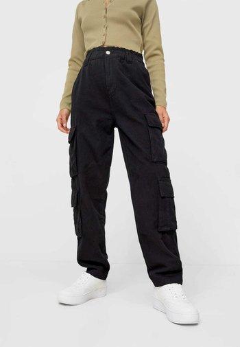 BAGGY FIT - Pantaloni cargo - black
