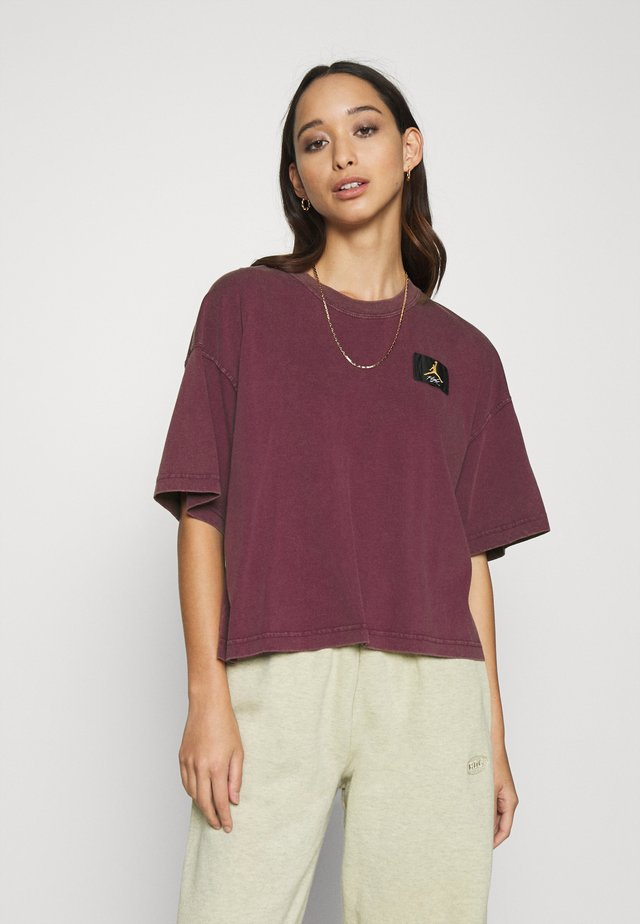 ESSENTIAL BOXY TEE - Print T-shirt - bordeaux