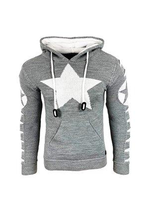 Hoodie - grau / weiß