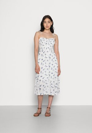 SMOCKED BODICE MIDI DRESS - Day dress - white floral