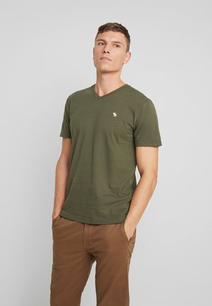 POP ICON VEE FRINGE - Print T-shirt - olive