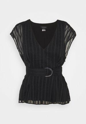 V NECK TIE - Blouse - black