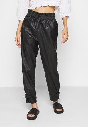 ONLDAVINA FAUX LEATHER TRACK  PANT - Trousers - black