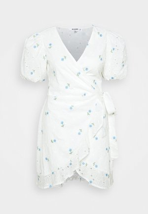FLORAL BRODERIE PUFF MINI - Day dress - white
