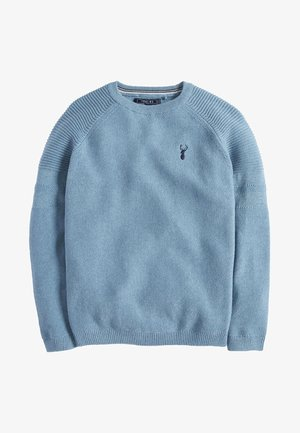 TEXTURED CREW - Jumper - mottled blue