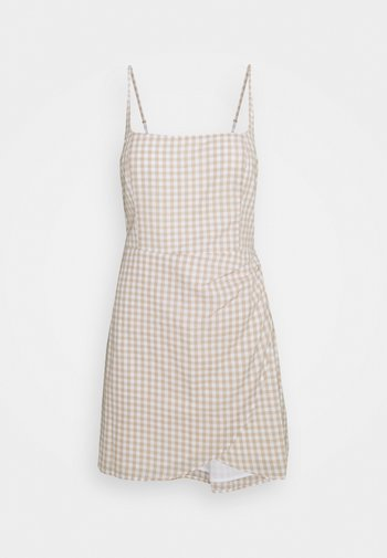 BARE WRAP SHORT DRESS - Day dress - white/tan