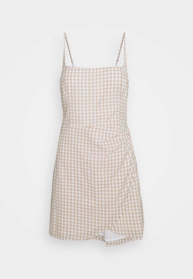 Abercrombie & Fitch - BARE WRAP SHORT DRESS - Day dress - white/tan