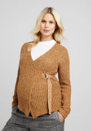 Cardigan - tobacco brown/snow white melange