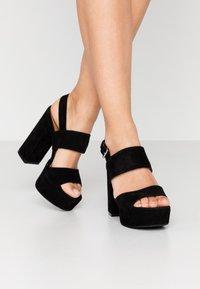 Even&Odd Wide Fit - LEATHER  - High heeled sandals - black - 0