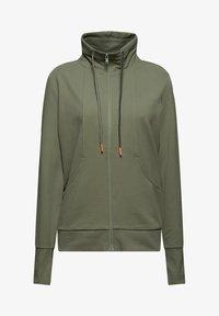 Esprit - MIT HOHEM KRAGEN - Zip-up sweatshirt - light khaki - 7