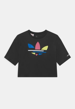 CROPPED TEE - T-shirt z nadrukiem - black