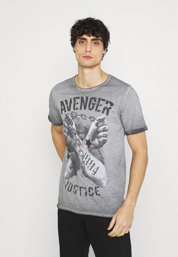 Key Largo LIBERATE ROUND - T-shirt z nadrukiem - anthra/antracytowy Odzież Męska OKSP