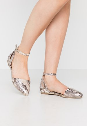 CHARLOTE - Ankle strap ballet pumps - champagne