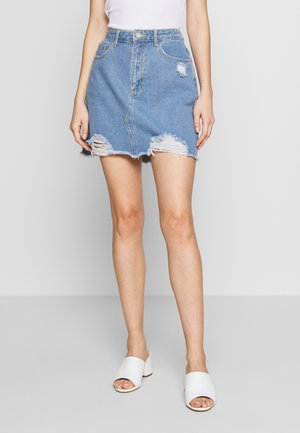DISTRESSED SKIRT - Farkkuhame - light blue