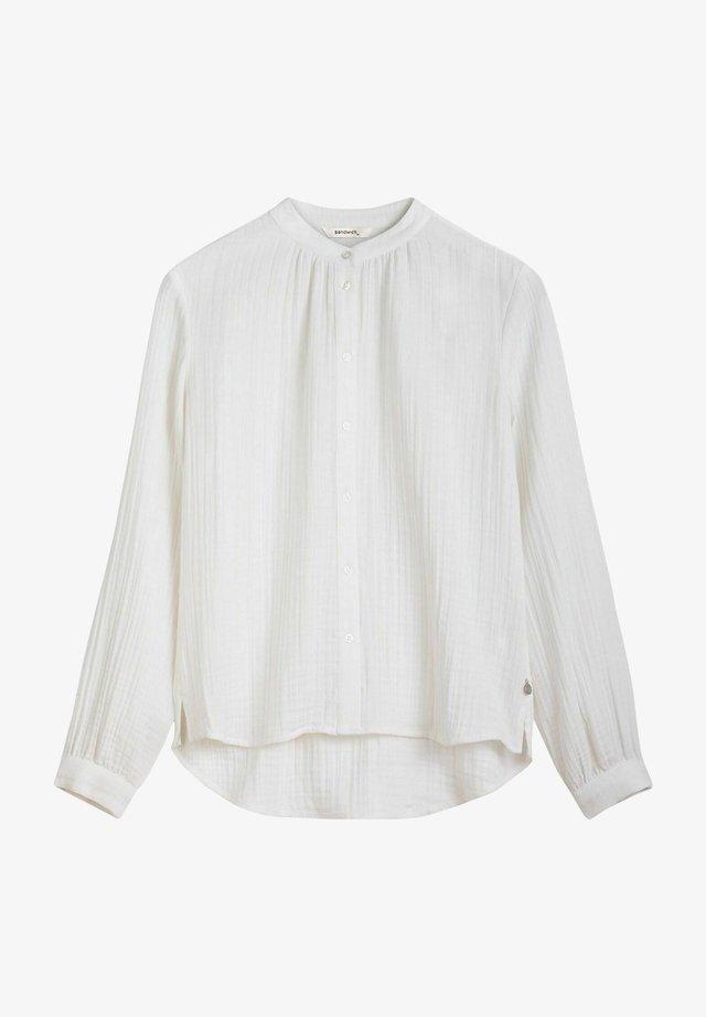 MIT MANDARIN-KRAGEN - Button-down blouse - weiãŸ