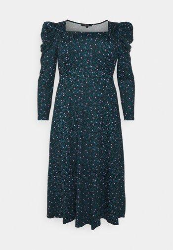 SQUARE NECK MIDI DRESS - Jerseyklänning - black