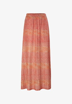 MIT ZICKZACK MUSTER - Maxi skirt - coral zic zac knit