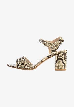 Højhælede sandaletter / Højhælede sandaler - beige melange