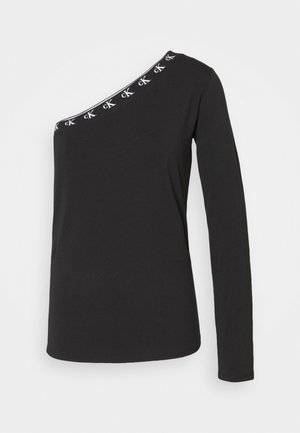 ASYMMETRIC LOGO TRIM - Long sleeved top - black