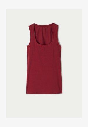AUS STRETCH-BAUMWOLLE - Top - rosso rubino