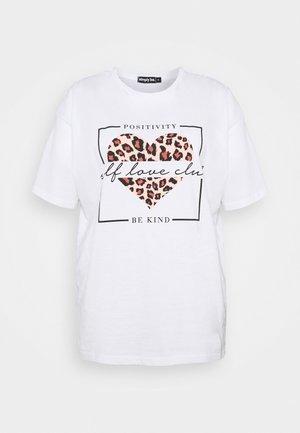 ANIMAL HEART SLOGAN - Print T-shirt - white
