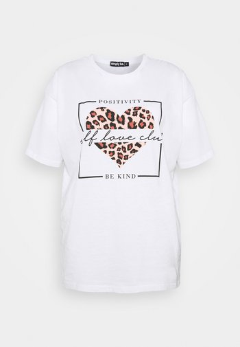 ANIMAL HEART SLOGAN - Camiseta estampada - white