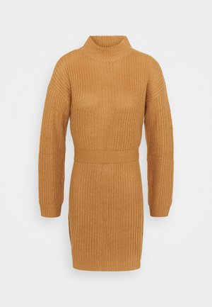BASIC DRESS WITH BELT - Robe pull - camel
