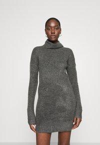 Abercrombie & Fitch - TEXTURAL CREW DRESS - Jumper dress - dark gray heather - 0