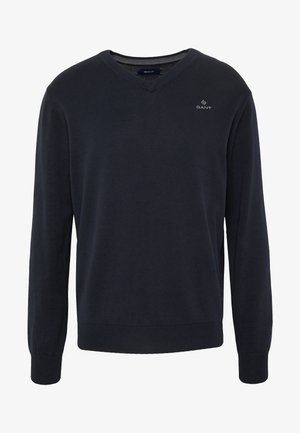 CLASSIC COTTON V-NECK - Sweter - evening blue