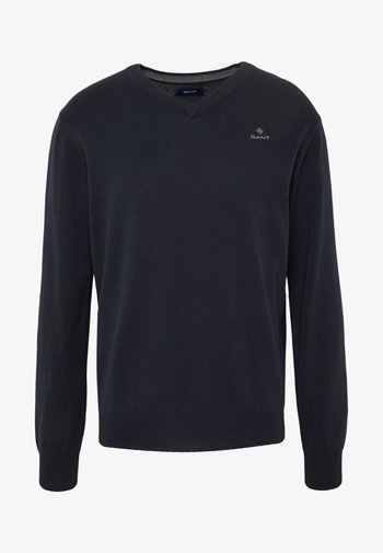 CLASSIC COTTON V-NECK - Stickad tröja - evening blue