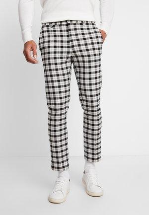 TARTAN MONOCHROME CHECK - Kalhoty - black