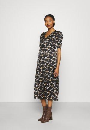 PUFF SLEEVE PLUNGE V-NECK FLARED MIDAXI DRESS - Košilové šaty - black