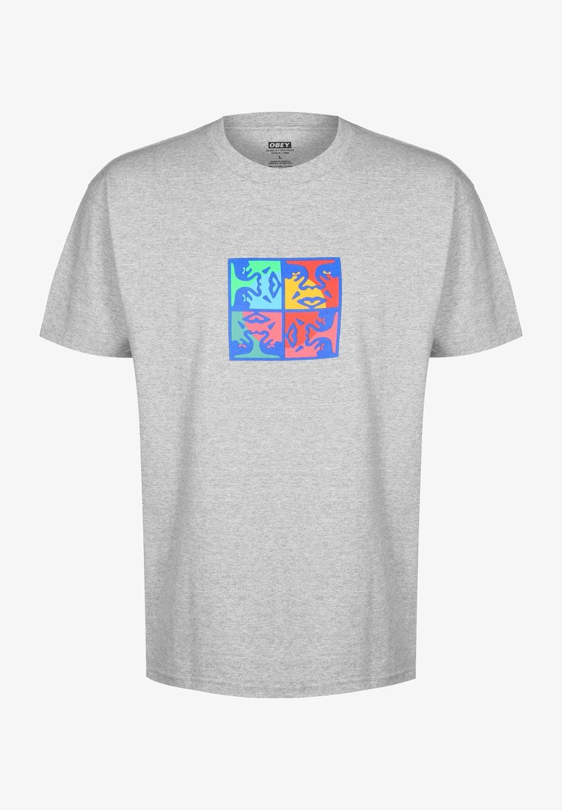 Obey Clothing - SQUARED UP - T-shirt med print - heather grey