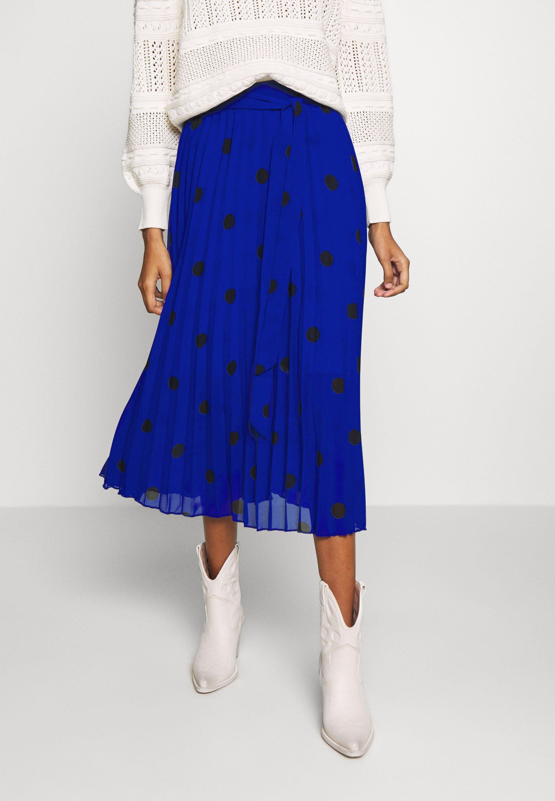 Dorothy Perkins SPOT PLEAT MIDI SKIRT - A-line skjørt - blue