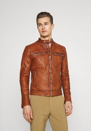 KYLL BIKER - Leather jacket - dark cognac