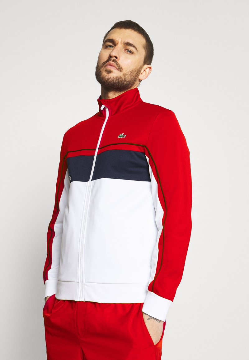 Lacoste Sport - TENNIS JACKET - Träningsjacka - ruby/white/navy blue/white