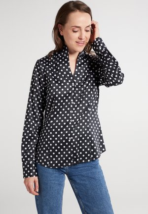 Button-down blouse - silbergrau/weiss