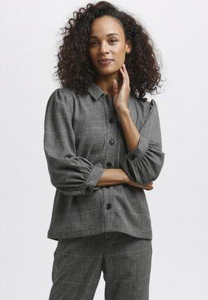 Button-down blouse - black / grey check