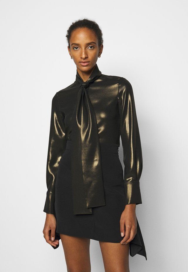 SCARF NECK FLUID SHINE - Blouse - black/gold
