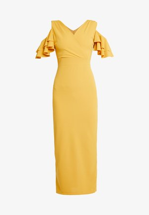 FRILL OFF THE SHOULDER MIDI - Cocktail dress / Party dress - mustard