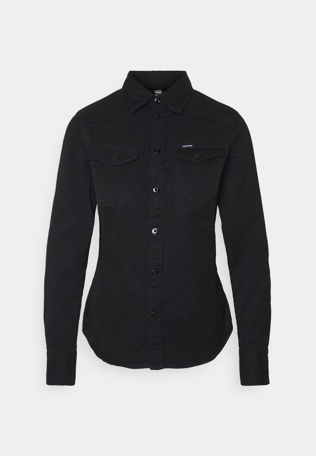 WESTERN KICK BACK SLIM  - Button-down blouse - dk black