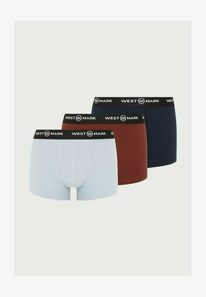 3-PACK - Pants - red, navy, light blue