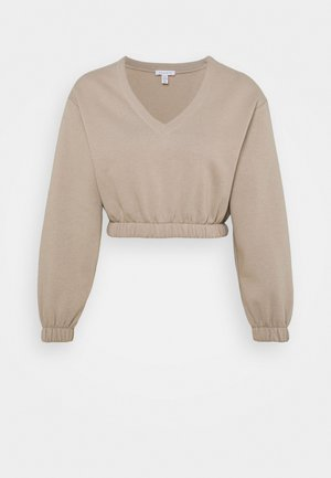 V NECK CROP - Sweatshirt - stone