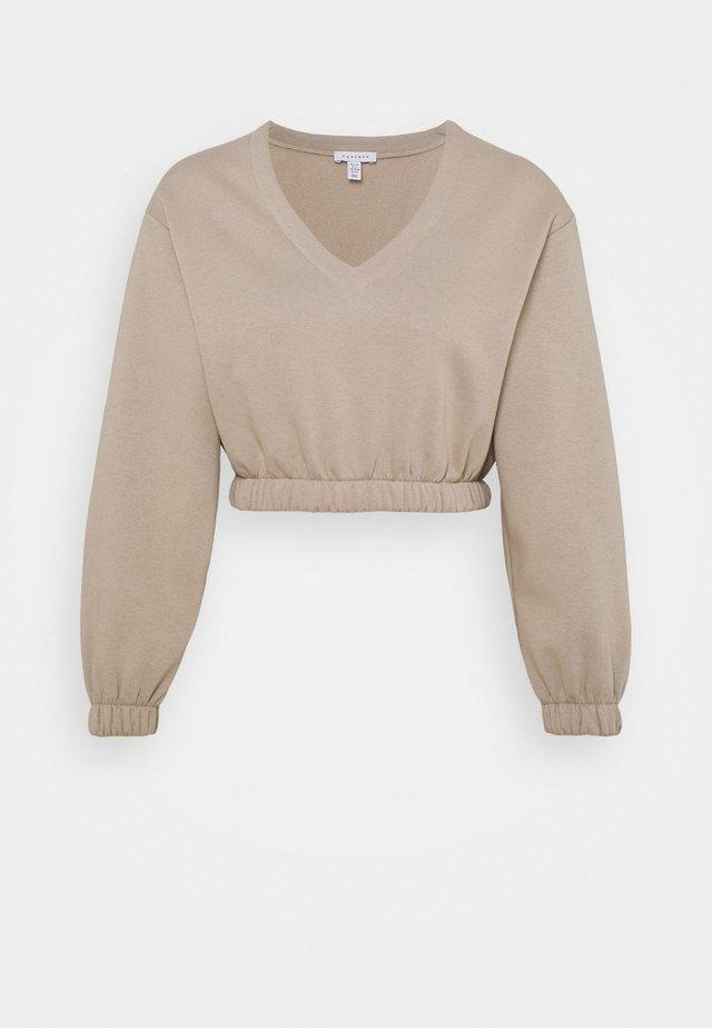 V NECK CROP - Sweatshirt - stone