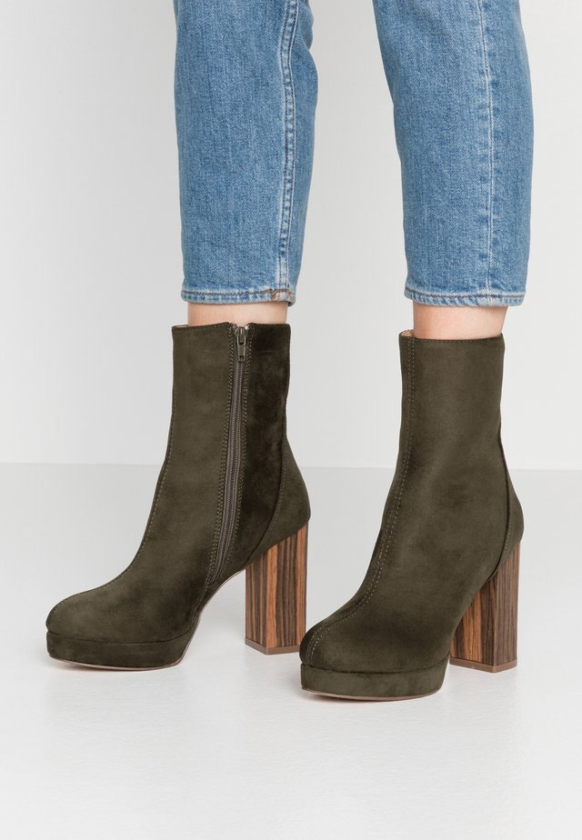 High heeled ankle boots - khaki