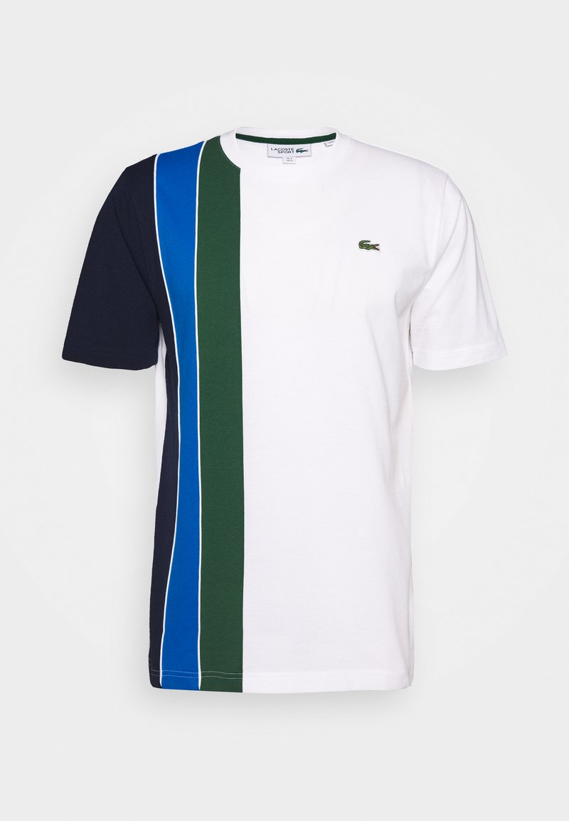 Lacoste Sport - RAINBOW - T-shirt z nadrukiem - white/navy blue/utramarine/green/white
