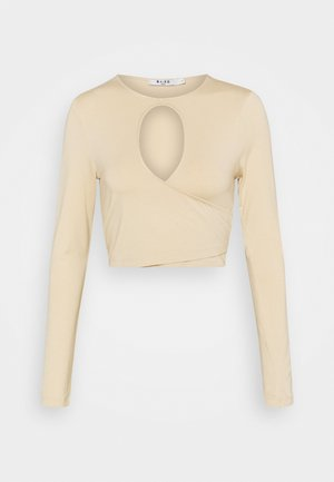 KEYHOLE CROPPED - Long sleeved top - beige