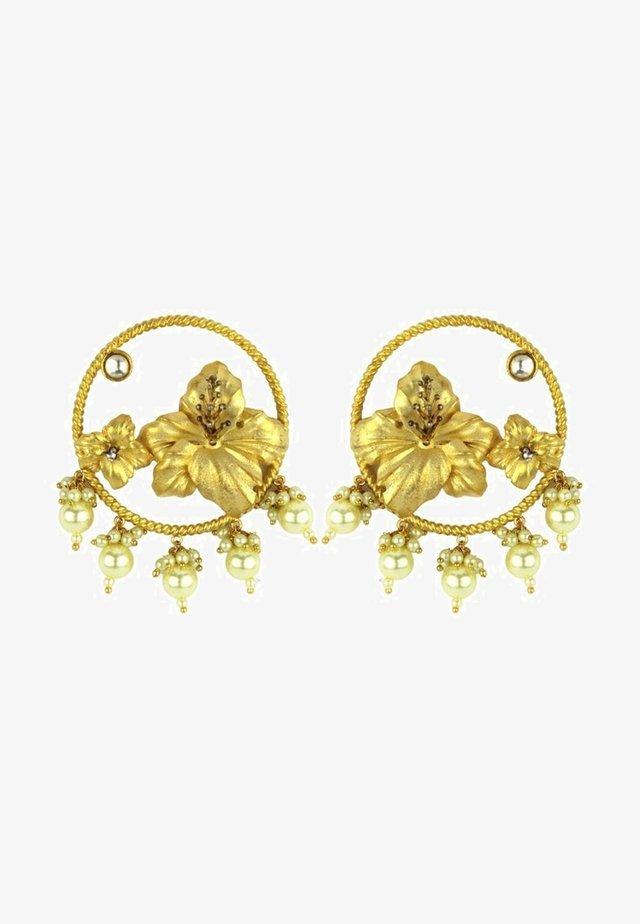HIBISCUS WITH PEARL - Orecchini - gold